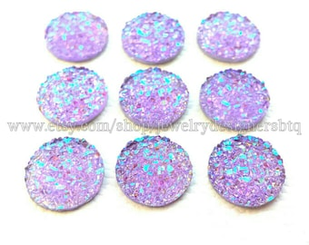12mm Faux Druzy Cabochon Druzy Cabochons Lavender Drusy Aurora Resin Cabs Iridescen Druzies Stud Earring Post Earrings Bezel Kawaii Cabochon
