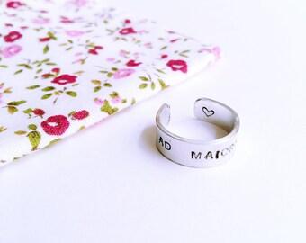 Unisex ring in aluminium with custom engraving