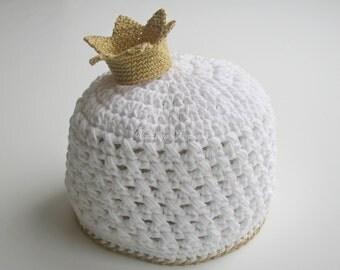 Crochet Girl Hat/COMING HOME hat/Crochet Crown/Newborn Crochet Hat/Baby Girl Hat/Newborn girl hat/Newborn girl beanie/Baby Girl Beanie