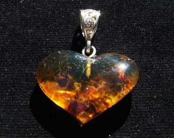 Amber Pendant, Original And Genuine Dominican Heart Shape Red And Bluish Amber .925, Sterling Silver Reversible Pendant Jewelry