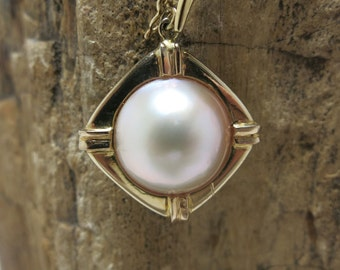 large pearl pendant enhancer 14k yellow gold