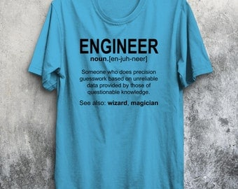 Engineer Noun T-Shirt Wizard Magician Smart Funny New Tee