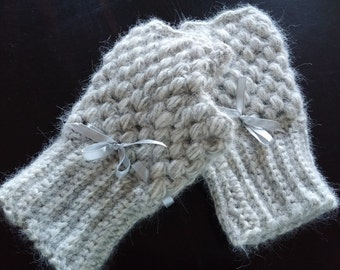 gloves grey melange-handmade