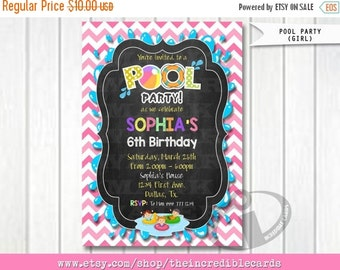 50% OFF SALE Girl Pool Party Invitation, Kids Pool Party Invitation, Pool party Invitation, kids pool party, Pool birthday, Party Digital Pr