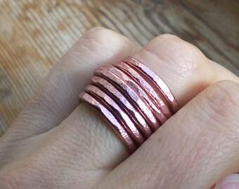 Rose gold ring // Big Band ring // Adjustable ring // Rose gold jewelry // Statement ring