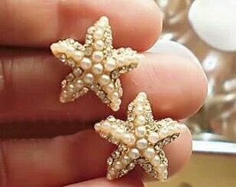 E301 Japan And South Korea Jewelry Lucky Starfish Pearl Earrings