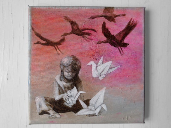 Acrylic Painting on canvas, girl and origami cranes, original painting, mothers day gift, birthday gift, picture nursery, art, paper birds