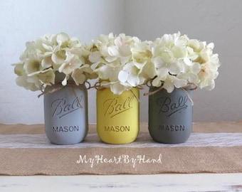 Rustic Mason Jars, Home Decor, Painted Mason Jars, Yellow and Grey, Bathroom Decor, Distressed Mason Jars, Rustic Bathroom, Wedding Decor