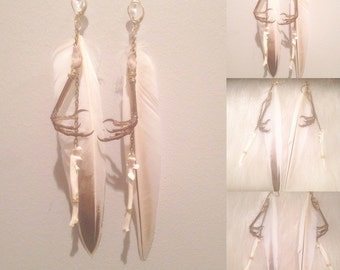 Bird claw and bone earrings
