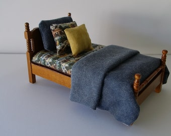1:12 OOAK Dressed Twin Bed With Western Cowboys and Horses Fabric