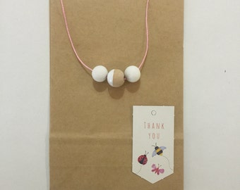Wooden bead necklace // natural and white // hand painted