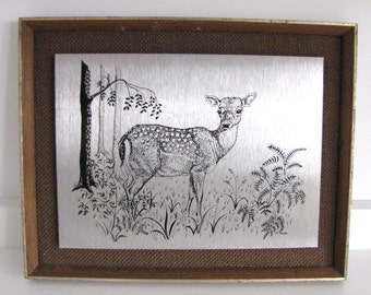 SALE Vintage Framed Deer Picture Metal Etching Very Retro Bambi Fawn Kitsch Wall Art 1970s Gift Display Prop Fab