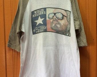 Vintage 70s WILLLIE NELSON 3q Tshirt