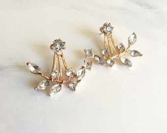 Rose Gold Spike Earrings, Crystal Earrings, Simple