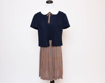 Vtg 60s School Girl Misses Checkered Blue Orange Peter Pan Collar Pleated Mod Jacket and Dress Suit M/L
