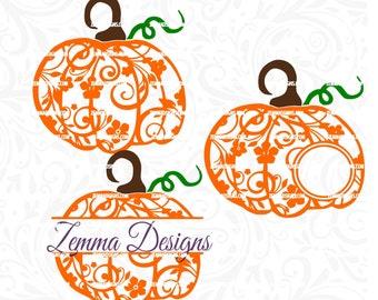 thanksgiving svg - Pumpkin svg - Flourish pumpkin - svg pumpkin - file types. .DXF .SVG, .PNG Silhouette studio-cutting file- commercial use