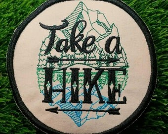 Take a Hike! Adventure Patch Embroidered Travelling Badge Gap Year Summer Holiday Hiking