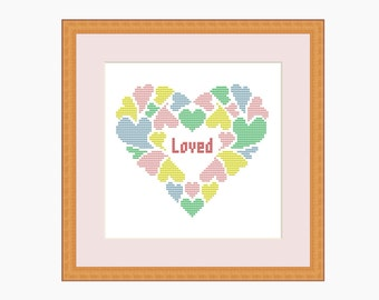 Cross Stitch Pattern, Modern cross stitch - 'LOVED' cross stitch pattern - Downloadable PDF