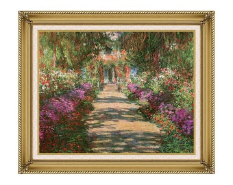 Main Path through the Garden at Giverny Claude Monet Framed Canvas Art Print Painting Reproduction - Sizes Small to Large - M00488