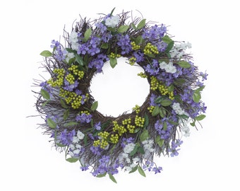 Front Door Wreath Colorful Purple Year Round Outdoor Spring Summer Decoration - 24 inch - WR010