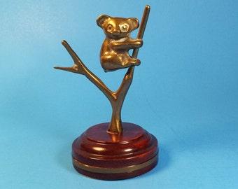 FREE SHIPPING, Vintage Ring Tree, Brass Panda Ring Tree,  Ring Holder, Jewelry Holder, Brass Jewelry Storage, Panda Bear Figurine