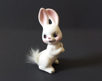 White Rabbit Figurine With Real Fur Tail, Bunny Figurine, Ceramic Rabbit, Animal Figurine