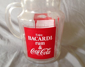Vintage Bacardi, Rum and Coke Pitcher