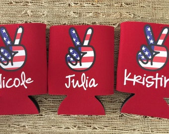 Custom Boozie Coolies, merica, fourth of july can coolers, party favors, america, patriotic coolies, peace usa, red white and blue, bawdles