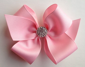 Girls hair bow, hair clip, baby hair bow, bling bow, toddler hair bow, embellished hair bow, pink bow, large baby pink bow, large bow