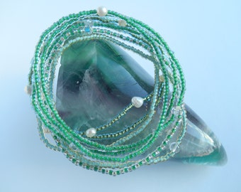 Shades of green seed bead bracelet set
