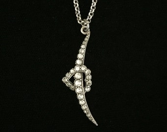 antique victorian paste crescent moon with heart necklace