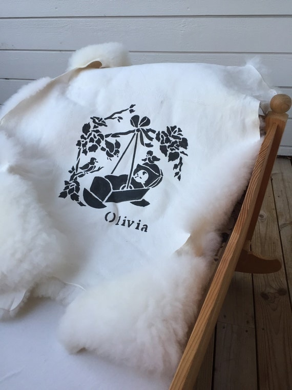 Baby sheepskin rug with infant print and personalized name print