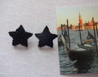 Vintage Star Bead Earrings, Star Earrings, Black Star Earrings, Seed Bead Earrings, Black Earrings, Goth Earrings, Mystic