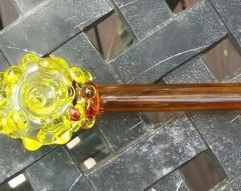 "Glass Tobacco Pipe - ""Yellow Bumpus"" - Spoon Pipe"