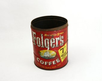 Vintage Folgers Coffee Can - Vintage Coffee - Vintage Kitchen Coffee Can - Shabby Chic Can
