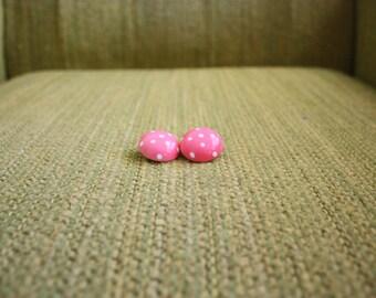 1960s Pink Earrings / Polka Dot Earrings / Clip-on Earrings