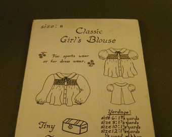 Vintage Class Girl's Blouse Patterns (2) Size 8 and Size 10