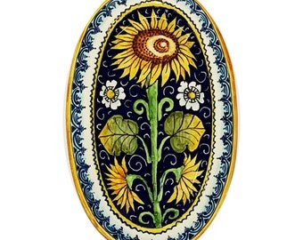 Italian Ceramic Art Pottery Tray Plate Sunflower Blu Hand Painted Made in ITALY Tuscany