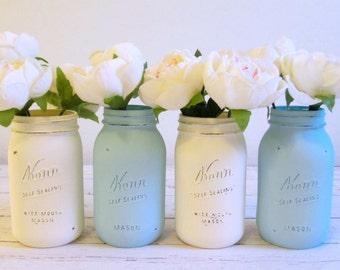 Set of 4 Painted Mason Jars - Light Blue and Ivory Quart Jars - Rustic Wedding Centerpieces - Flower Vases - Baby Shower Centerpiece
