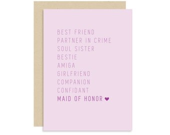 Maid of Honor Proposal Card - Best Friend Wedding Proposal - BFF Card - Cute Fun Modern - 5x7