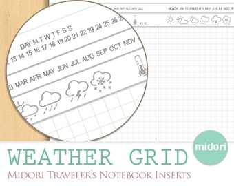 MIDORI INSERTS Weather Grid, Hobonichi Everyday Traveler's Notes Temperature, Printable Download Travel Notebook Journal, Elegant Organizer