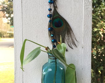 Cobalt Blue & Turquoise Hanging Flower Vases - Set of 2