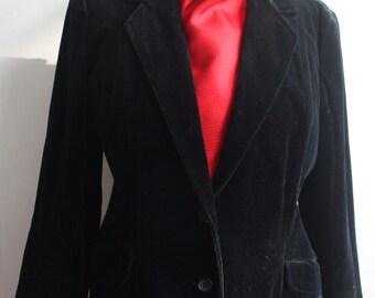 Vtg 70's Black Velvet Blazer