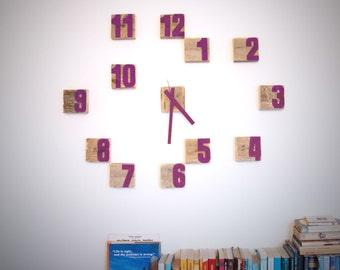 Wooden wall clock, Block Clock, Purple clock, Graffiti clock, Upcycled wood clock, Customizable clock, Customizable colors, crazy clock