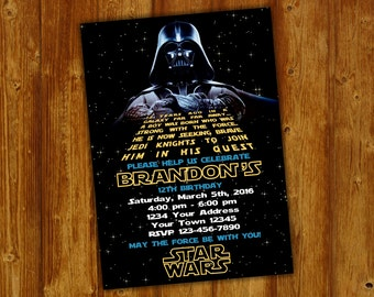 Star Wars Invitation.Star Wars Party Invitation.Star Wars Birthday Party Invite .Star Wars Party Printable.Darth Vader Invitation.