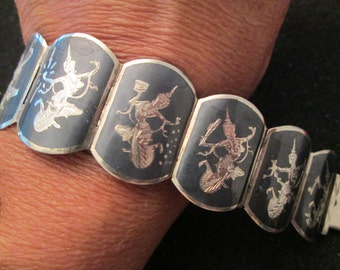 """SALE>>Gorgeous Sterling Silver SIAM Niello Bracelet>> vintage 1940's>> 7 1/2"""" long> 41 grams heavy weight"""