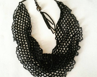 Handmade seedbead spiderweb necklace