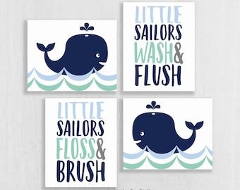 CANVAS Whale Bathroom Wall Art - Whale Watch Bathroom - Nautical Bathroom - Ocean Theme Bathroom Decor - Sea Theme Bathroom Art