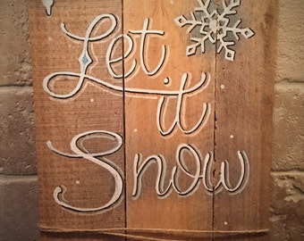 Hand-painted Let It Snow Wood Painting Sign Home Decor Winter Decoration