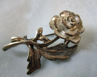 Silver Tone Rose Pin, Brooch